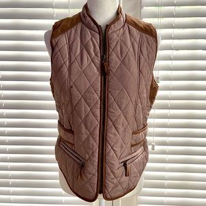 Entro Anthropologie Small Brown Full Zip Puff Vest
